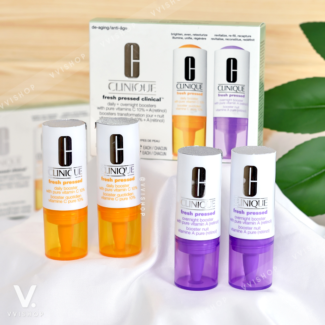 Clinique Fresh Pressed Clinical™ Daily and Overnight Boosters With Pure Vitamins C 10% + A (Retinol)