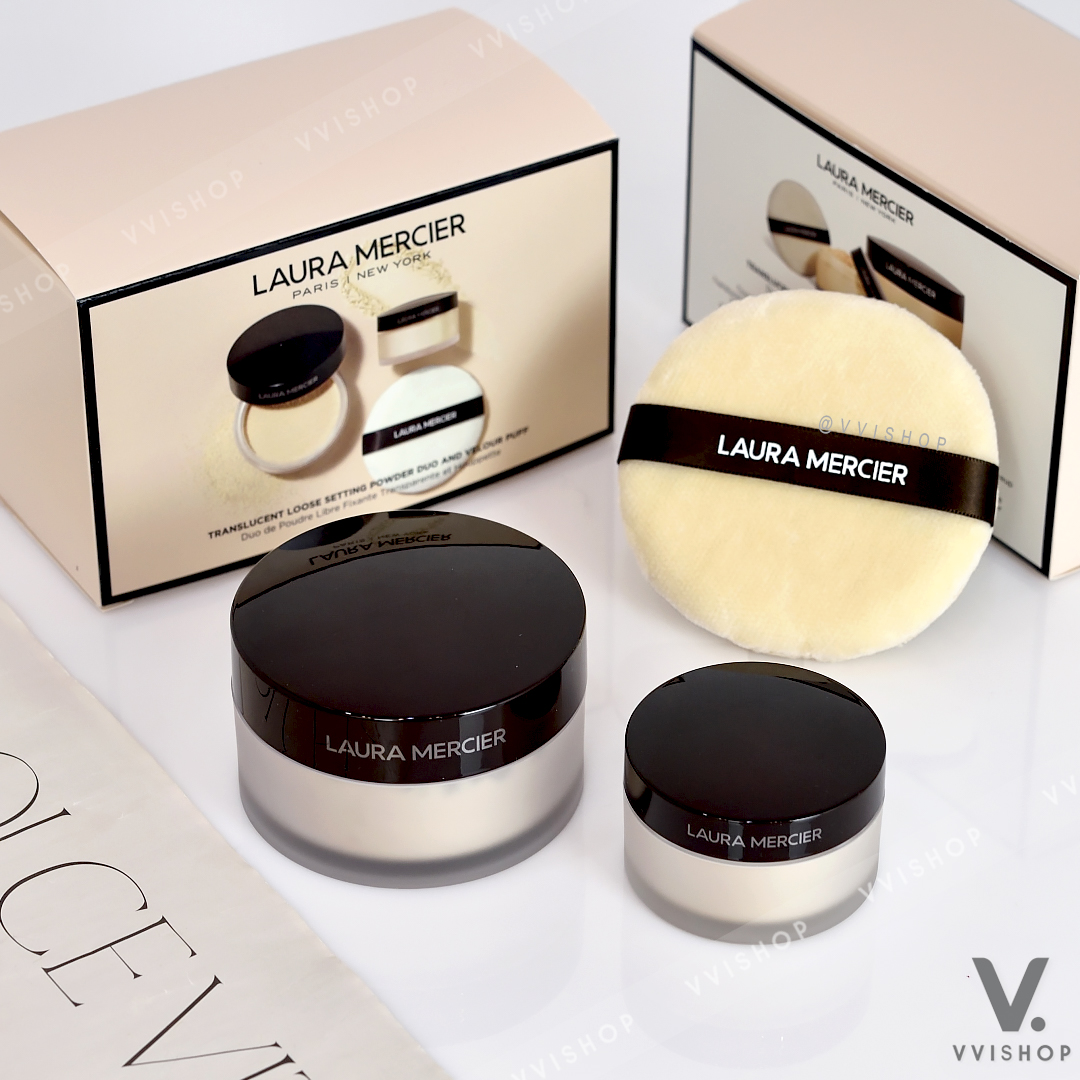 Limited Edition! Laura Mercier Translucent Loose Setting Power Duo And Velour Puff